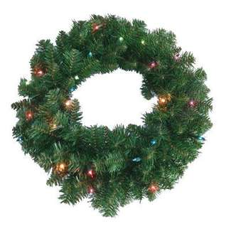 Lighted Artificial Wreath, 24-In.
