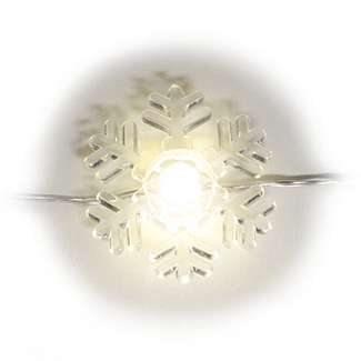 20 Snowflake Shaped Light Set Warm White - LED Battery Operated 6 Hours On, 18 Hours Off