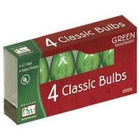 4 Pack - Green C7 Incandescent Transparent