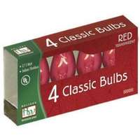4 Pack - Red C7 Incandescent Transparent