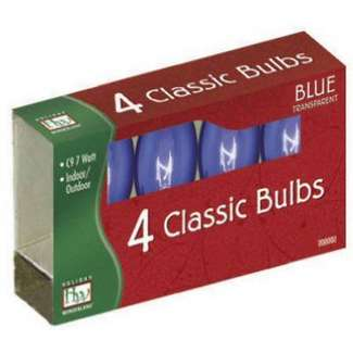 4 Pack - Blue C9 Incandescent Transparent