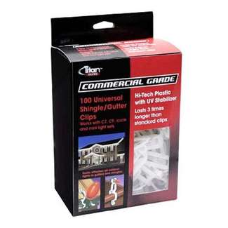 Titan Elite Gutter/Shingle Holiday Light Clip, Clear, 100-Ct.