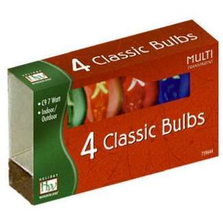 4 Pack - Multicolor C9 Incandescent Transparent