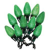 Christmas LED Light Set, C9, Green, Faceted, 25-Ct.
