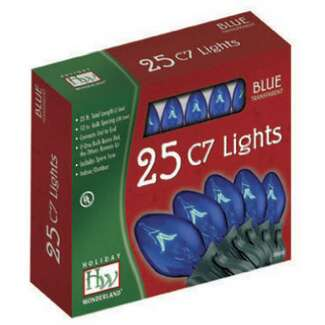 25 Light Set - 24 ft C7 Incandescent Blue - Transparent