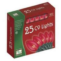 25 Light Set - 24 ft C9 Incandescent Red - Transparent