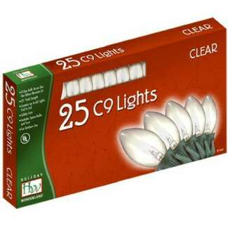 25 Light Set - 24 ft C9 Incandescent Clear - Transparent
