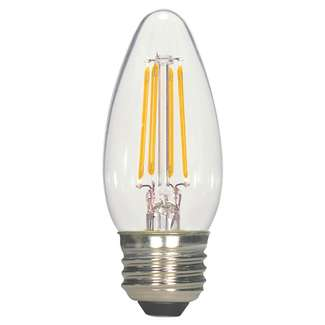 4.5 Watt - Medium Base 2700K - C11 Filament LED 80 CRI - Clear - Dimmable Satco Lighting