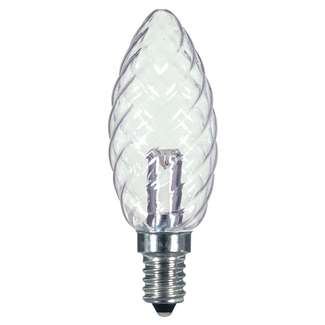 1 Watt - Candelabra Base 2700K - BA9.5 Crystal LED 80 CRI - Clear - Non-Dimmable Satco Lighting