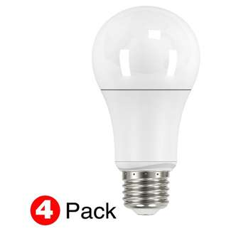 11 watt; A19 LED; 2700K; Medium base; 4-pack