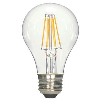 6.5 watt A19 LED; Clear; Medium base; 3000K