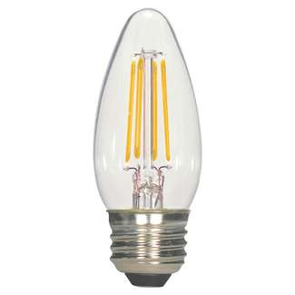 5.5 Watt - Medium Base 2700K - B11 Filament LED 80 CRI - Clear - Dimmable Satco Lighting