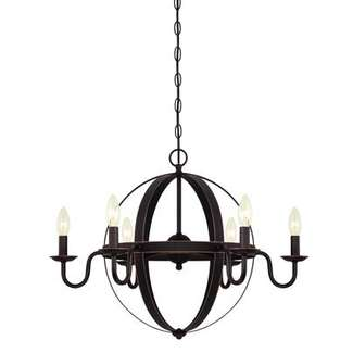 Brixton Six-Light Indoor Chandelier Oil Rubbed Bronze Finish with Highlights