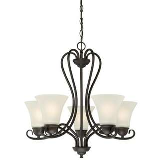 Dunmore Five-Light Indoor Chandelier Oil Rubbed Bronze Finish with Frosted Glass