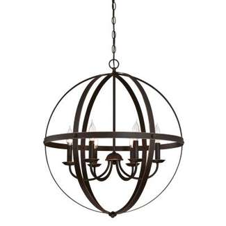 Stella Mira Six-Light Indoor Chandelier Oil Rubbed Bronze Finish with Highlights