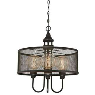 Walter Four-Light Indoor Chandelier Oil Rubbed Bronze Finish with Highlights and Mesh Shade