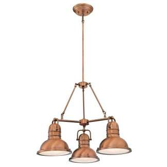 Boswell Three-Light Indoor Chandelier Washed Copper Finish with Frosted Prismatic Acrylic