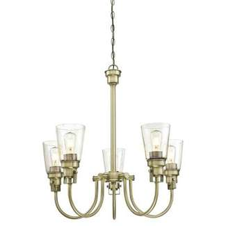 Ashton Five-Light Indoor Chandelier Antique Brass Finish with Clear Seeded Glass