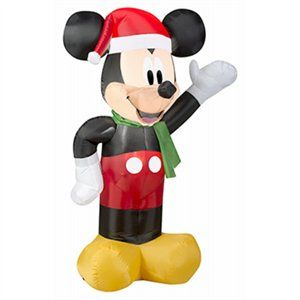 Christmas Inflatable Mickey Mouse & Santa, 3.5-Ft.