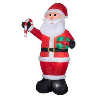 12' Giant Airblown Santa With Gift & Candy Cane