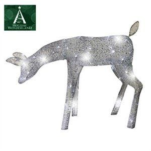 "39"" Silver Feeding Doe 60 LEDs Holiday Wonderland"
