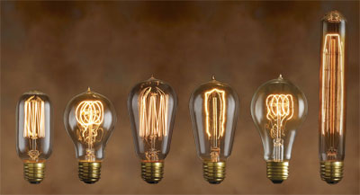 Grouping of T9, A21, ST57, A19 and ST14 Antique Incandescents