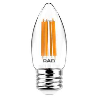 6 Watt - Medium Base 2700K - B11 Filament LED 90 CRI - Clear - Dimmable RAB Lighting