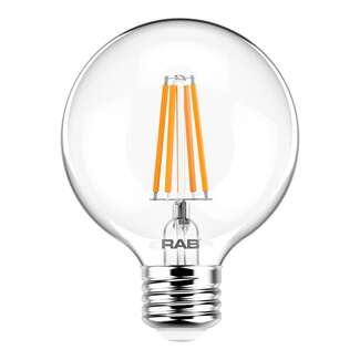 4 Watt - Medium Base 5000K - G25 Filament LED 90 CRI - Clear - Dimmable RAB Lighting