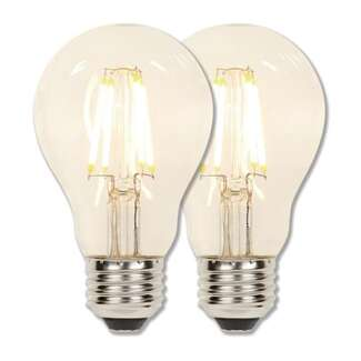 6.5 Watt - 810 Lumens 2700K - A19 Filament LED 80 CRI - Clear - Dimmable 2 Pack Westinghouse