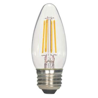 4.5 Watt - Medium Base 2700K - B11 Filament LED 80 CRI - Clear - Dimmable Satco Lighting