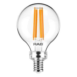 3.8 Watt - Candelabra Base 2700K - G16.5 Filament LED 90 CRI - Clear - Dimmable RAB Lighting