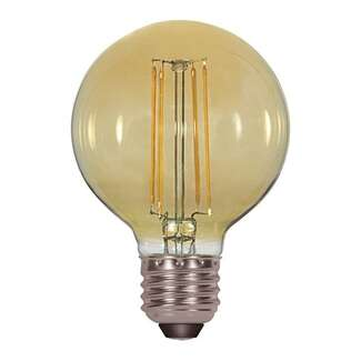 4.5 Watt - Medium Base 2000K - G25 Filament LED 80 CRI - Amber - Dimmable Satco Lighting