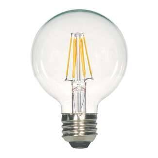6.5 Watt - Medium Base 2700K - G25 Filament LED 80 CRI - Dimmable Satco Lighting