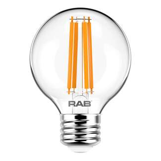 3.8 Watt - Medium Base 2700K - G16.5 Filament LED 90 CRI - Clear - Dimmable RAB Lighting