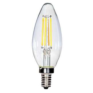 4 Watt - Candelabra Base 2700K - B11 Filament LED 80 CRI - Clear - Dimmable Satco Lighting