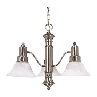 "Gotham- 3 Light- 23""- Chandelier- with Alabaster Glass Bell Shades"