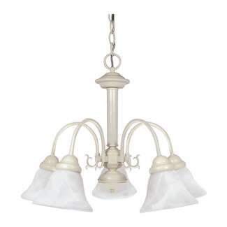 "Ballerina- 5 Light- 24""- Chandelier- with Alabaster Glass Bell Shades"