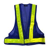 Blue Safety Vest Red Flashing LED Lights Yellow Stripes