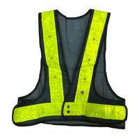 Navy Blue Safety Vest Red Flashing LED Lights Yellow Stripes