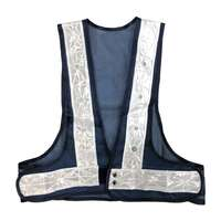Navy Blue Safety Vest Red Flashing LED Lights White Stripes