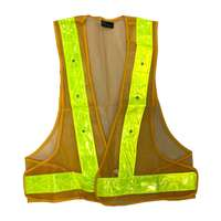 Ornage Safety Vest Red Flashing LED Lights Yellow Stripes
