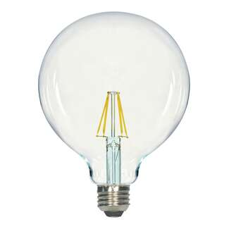 6.5 Watt - Medium Base 3000K - G40 Filament LED 80 CRI - Dimmable Satco Lighting