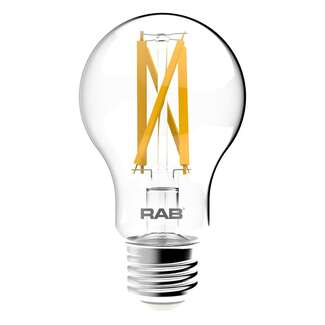 9 Watt - 810 Lumens 3000K - A19 Filament LED 90 CRI - Clear - Dimmable RAB Lighting
