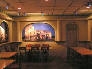 Restaurant dining area with upgraded lighting