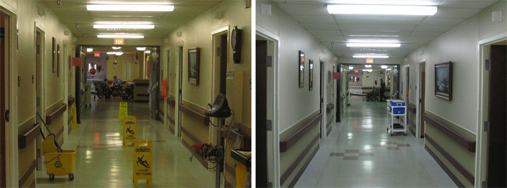 Before and anfter of a Medical Office with Vi-Tek 93+ lights